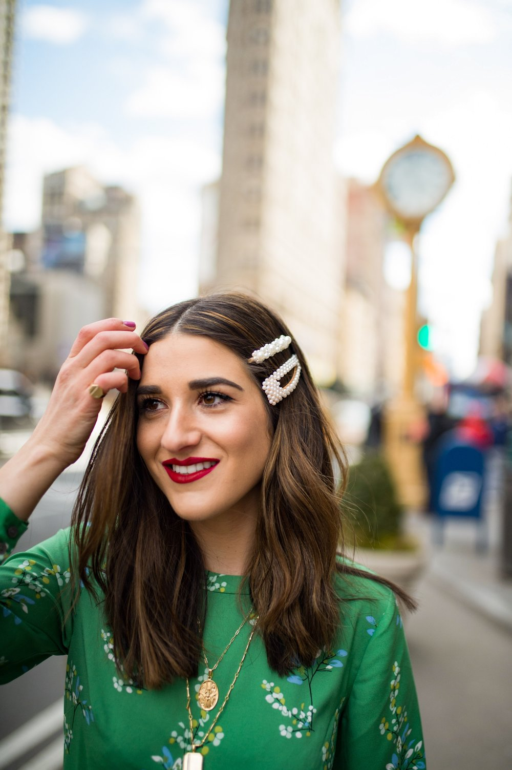 Fresh Cut And Color Sharon Dorram Color at Sally Hershberger Esther Santer Fashion Blog NYC Street Style Blogger Outfit OOTD Trendy Shop Balayage Honey Highlights New York City Upscale Salon Green Floral Dress Spring Pearl Barrettes Hair  Accessories.JPG
