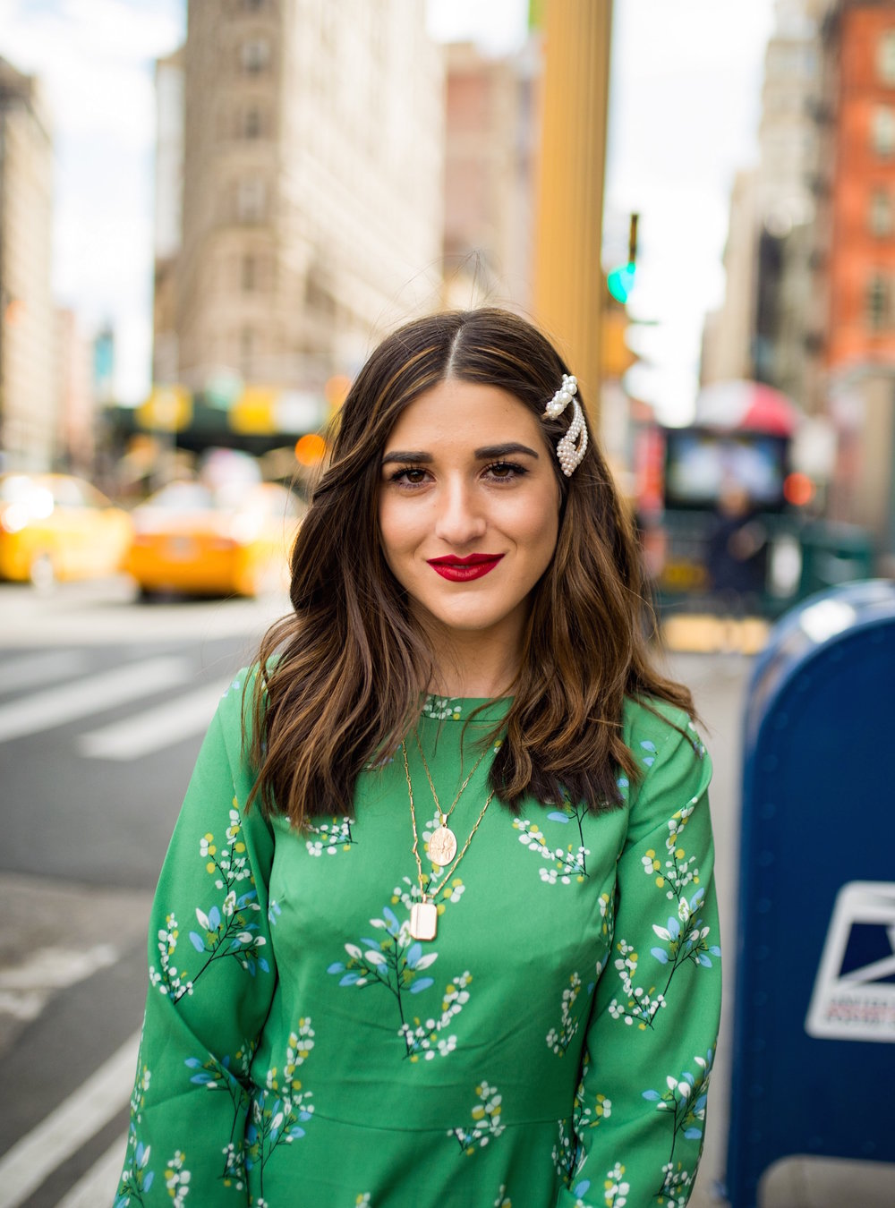 Fresh Cut And Color Sharon Dorram Color at Sally Hershberger Esther Santer Fashion Blog NYC Street Style Blogger Short Layered Haircut Balayage Honey Highlights New York City Upscale Salon Chop Natural  Inspo Spring Pearl Barrettes Hair Accessories.JPG