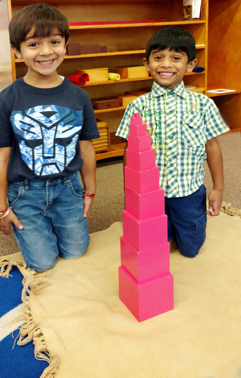 Two of our students in Sensorial are incredibly proud of their accomplishment. They worked together as a team to build the Pink Tower. What a fantastic first day!!!!