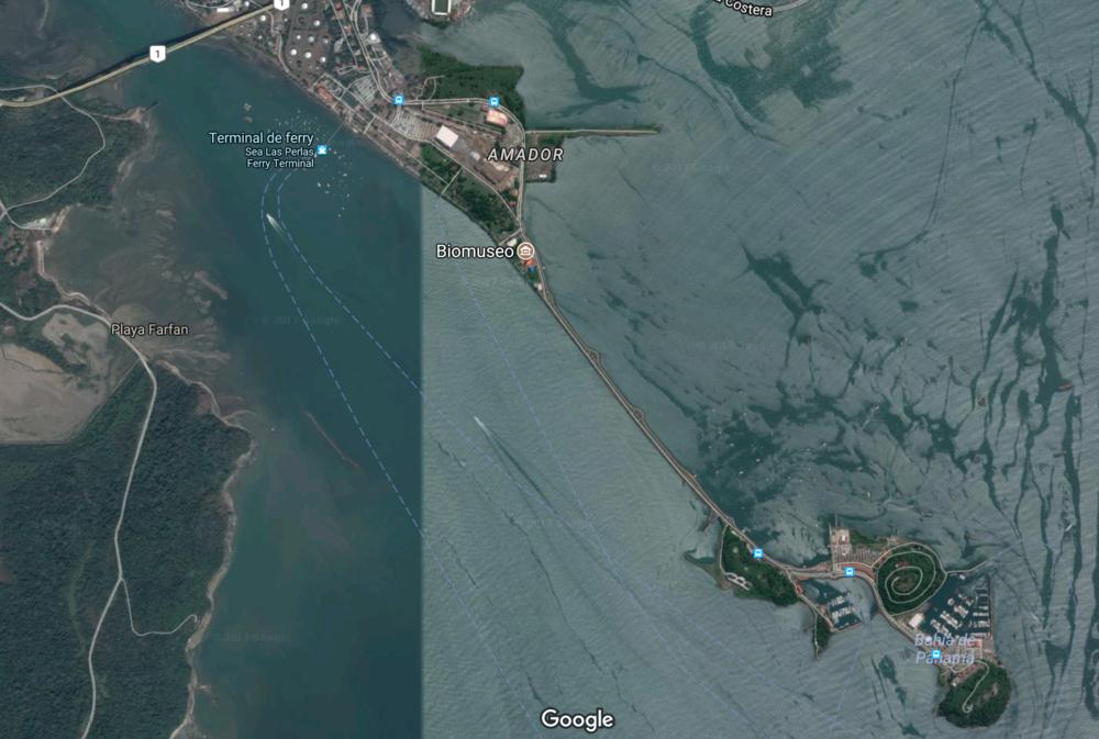 Isla Flamenco et le port de Punta Culebra (Image Google Maps)