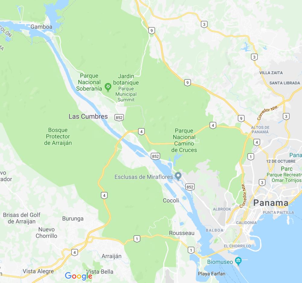 Notre navigation : - De Puente de Las Américas - Esclusas de Miraflores - Esclusa de Pedro Miguel - Gamboa