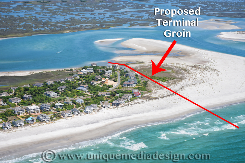 Unique Media and Design owner, Adam Hawley, utilized one of many photographic avenues his business offers in order to portray the proposed groin from a bird's eye view.