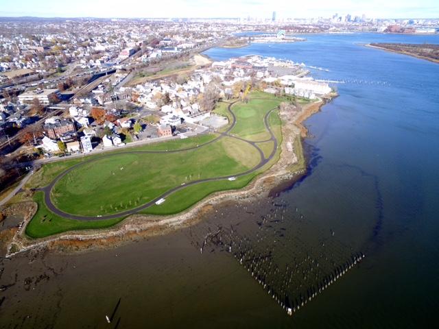 Aerial view of Senator Joseph Finnegan Park at Port Norfolk (Photo by Mike DeRosa)