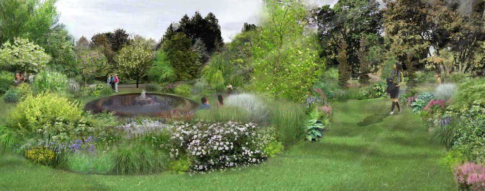 Springtime rendering showing the rich garden palette that is evocative of the Asa Gray story