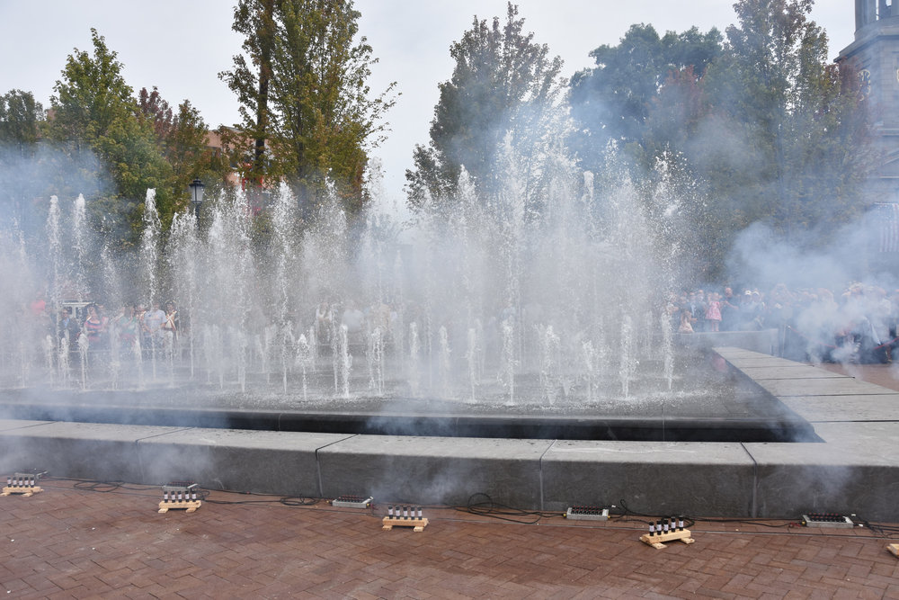 Pyrotechnics accompanied the introduction of the new tidal fountain