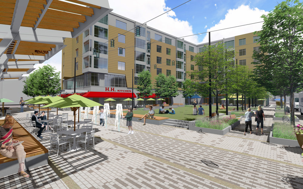Washington Village plaza and lawn (Rendering by Halvorson Design)