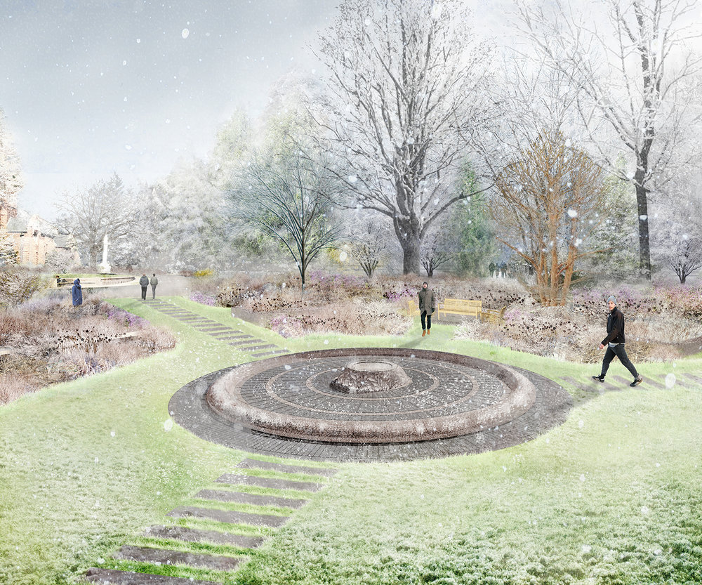 Rendering of fountain in winter (Halvorson Design)