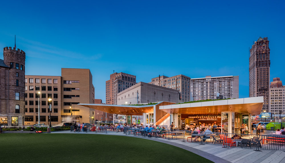 Evening view of Lumen at Beacon Park in Detroit (photo by Anton Grassl)