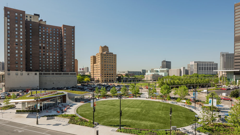 View of lawn at Beacon Park in Detroit (photo by Anton Grassl)