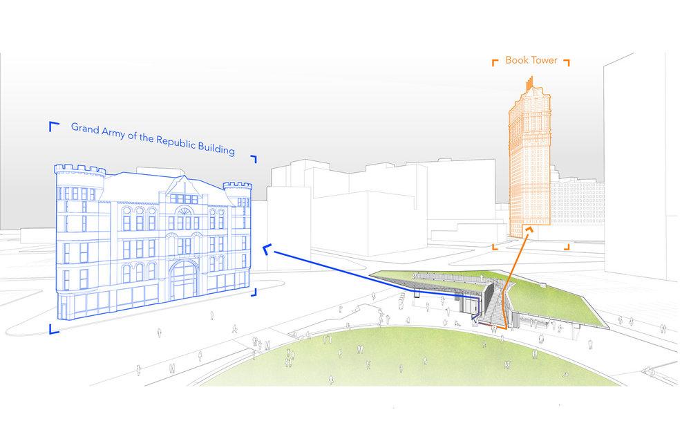 Sight lines diagram at Beacon Park in Detroit (Touloukian Touloukian)