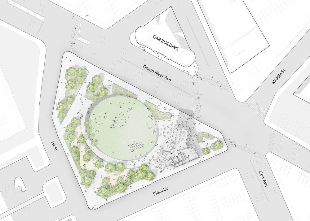 Beacon Park in Detroit Site Plan (Touloukian Touloukian)