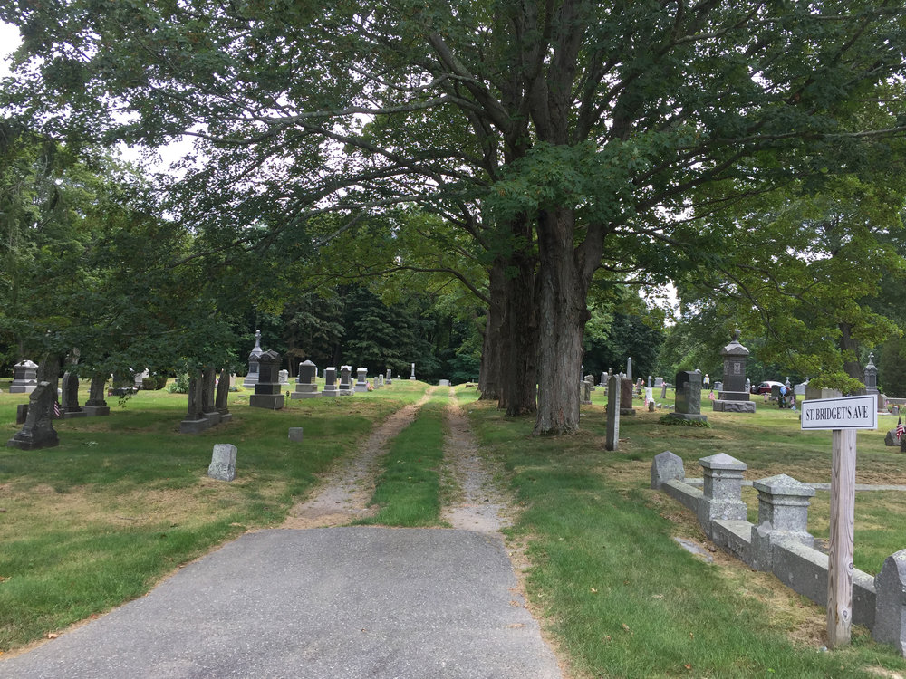 Before view of Zone A at St. Paul Parish Cemetery in Hingham, MA