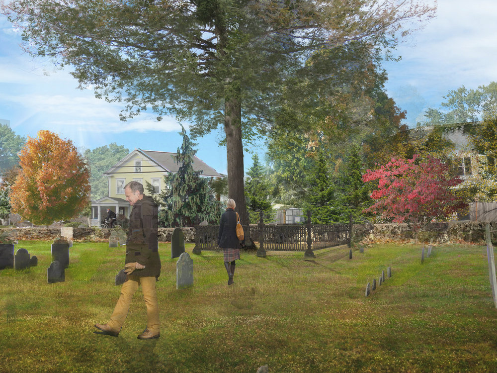 Proposed Restoration of Howe Family Lot, Old Village Cemetery, Dedham, MA (Rendering by Halvorson Design)