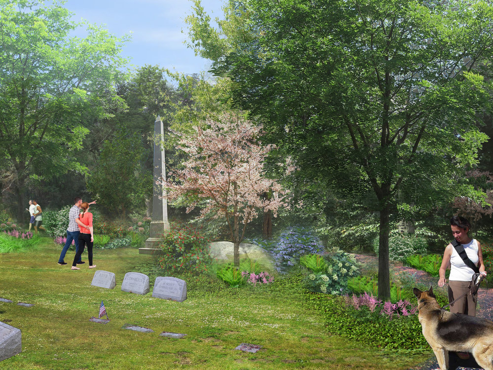 Rendering of Telford Path at West Laurel Hill Cemetery, Bala Cynwyd, PA (Rendering by Halvorson Design)