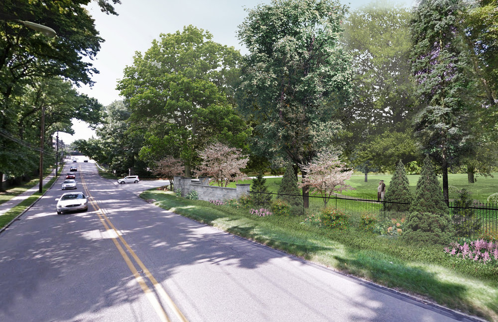 Rendering of Edge Buffer at West Laurel Hill Cemetery, Bala Cynwyd, PA (Rendering by Halvorson Design)