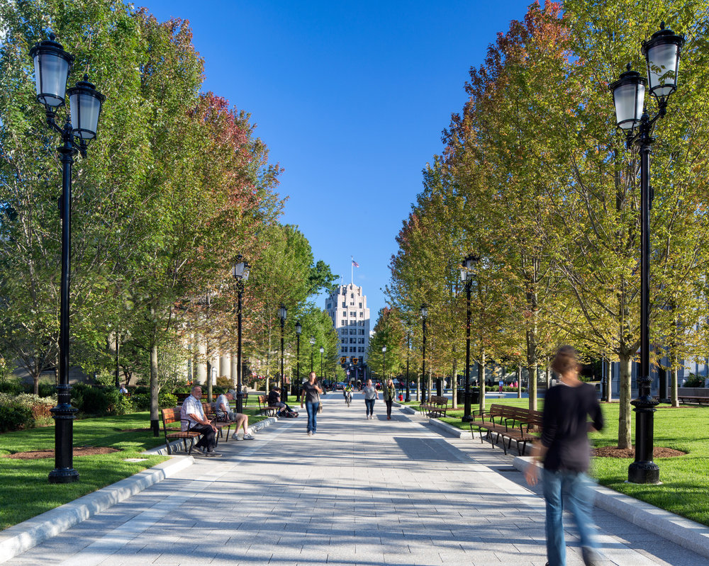 Pedestrian promenade at Hancock Adams Common (photo by Ed Wonsek)