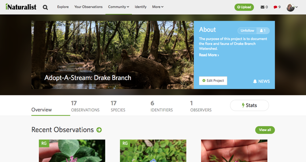 Drake Branch iNaturalist Page