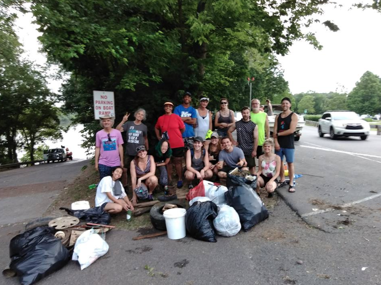 06.12.18 Turnip Green Creative Reuse,Cumberland Kayak, and the Compact with volunteers after a cleanup of Mill Creek.