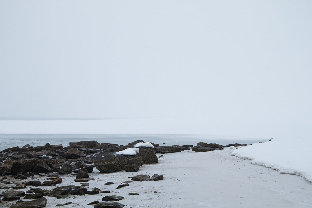 Jamesport Beach in Snow, Jamesport NY 2015
