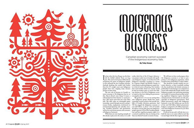 On shelves today (and a free insert to @globeandmail subscribers)—the spring issue of #corporateknights magazine. My illos accompany an article that focuses on the integration of Canadian and Indigenous economies. . . . . . #illustration #illustrationdaily #editorialillustration #magazineillustration #canadianillustrator #indigenouseconomies #canada