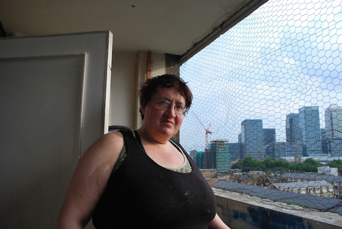 Hilary from the kitchen flat in Balfron Tower.