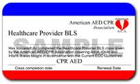 This is not an American Heart Association card. Notice how they make the card look very similar to an AHA card. The format is the same, same colors, they even make a similar logo in the upper right corner like the AHA card
