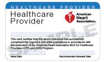 This is the current version of the American Heart Assocation BLS for Healthcare Provider card