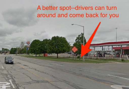 Instead, pick a good spot before the on-ramp where traffic is slow, and there's room to pull over.