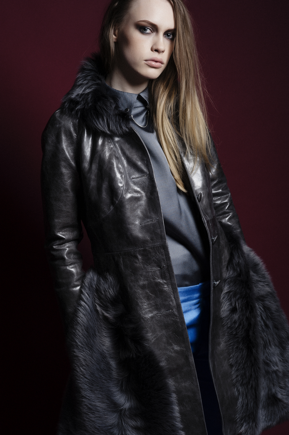 Grey cow hide leather and toscana lambskin coat