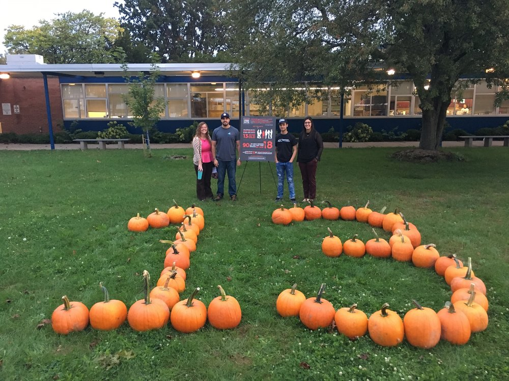Average Age is 13 - Reality Check Youth and RCYM gathered over 50 pumpkins to create a visual display of the number 13 which represents the average age of a new smoker in New York State.
