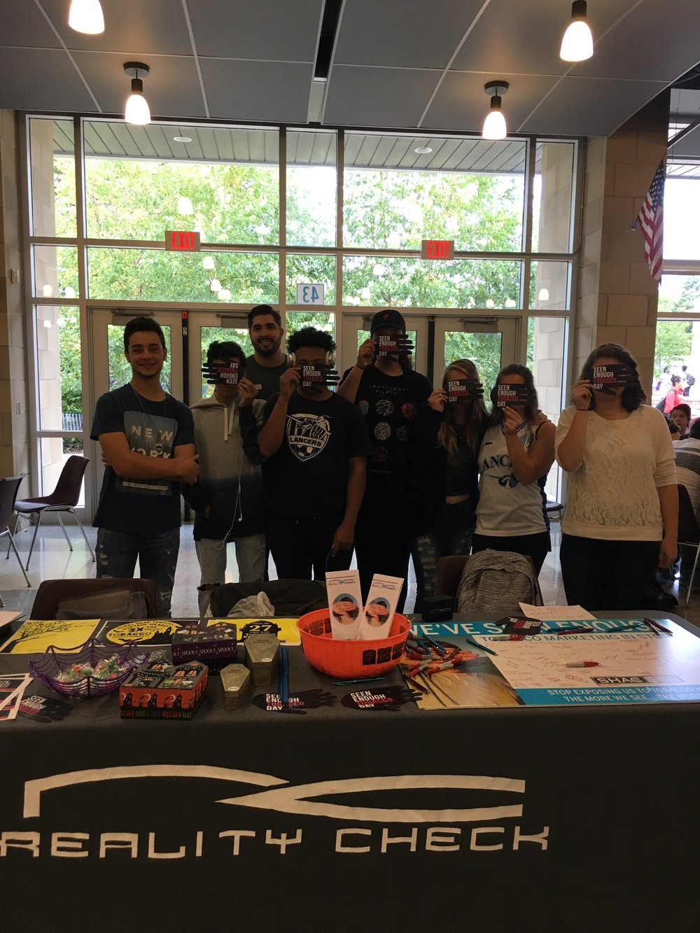 "RC of Eastridge High -  Reality Check group members and RCYM at Eastridge High School table during the lunch periods and hold a ""Trick or Treat"" Event with Scary Statistics."
