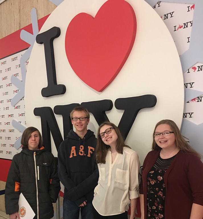 RC of Chautauqua, Cattaraugus, and Allegany Counties - Spencer Bautista, Jacob Thierfeldt, MacKenzie Sakala, and Oliva Lang of Tobacco Free CCA showing how much they love NY.