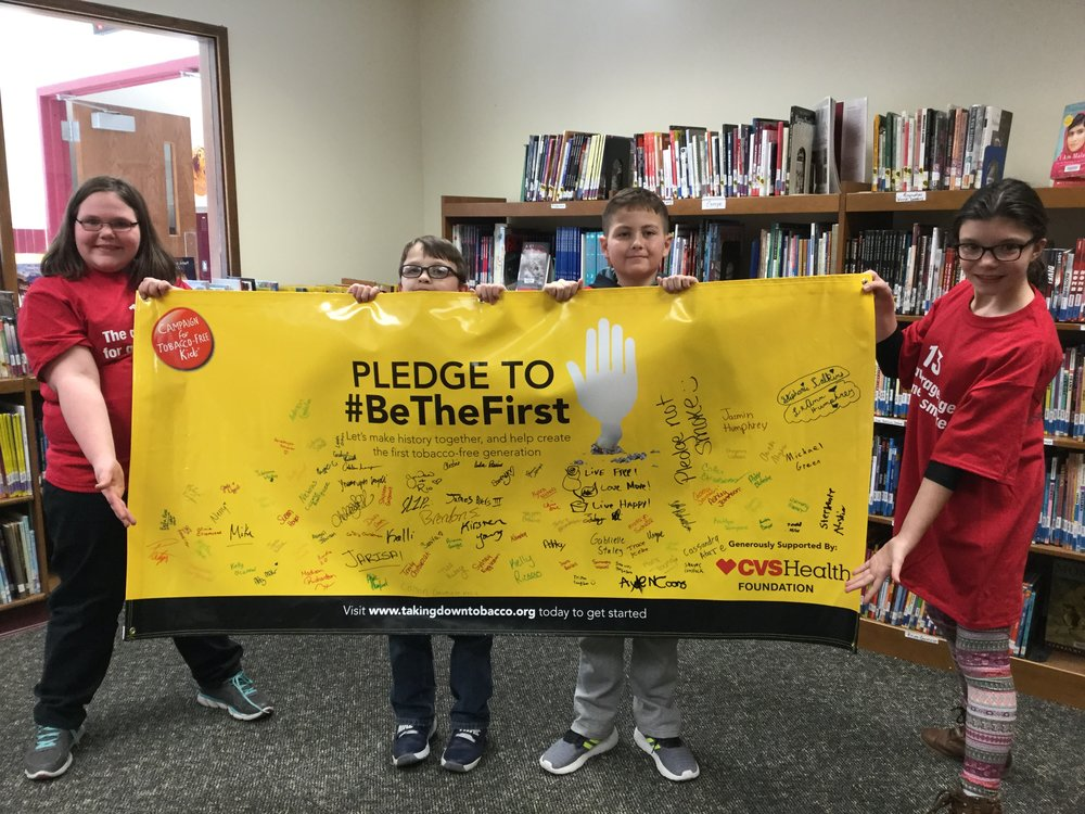 Fonda-Fultonville Middle School RC youth pledged to #BeTheFirst tobacco-free generation for Kick Butts Day.
