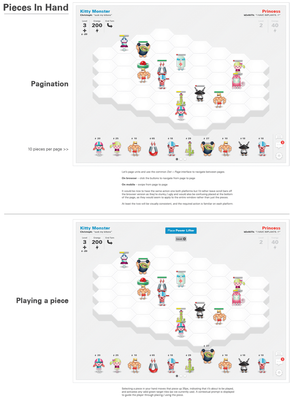 UX - Game Piece Pagination