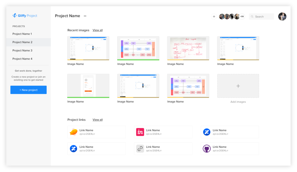 "Gliffy Project ""project overview"" experience—a single source of truth hub for all project-related visual documentation, Jira boards, and external documents"