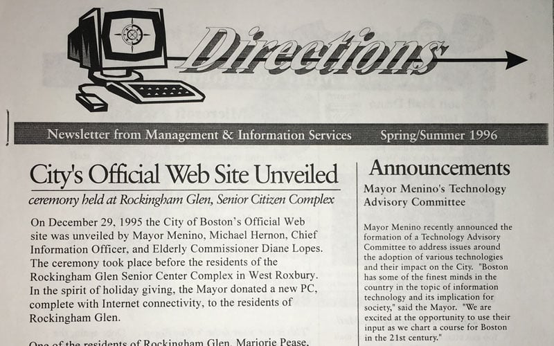 The newsletter announcing the first launch of the City's official website.