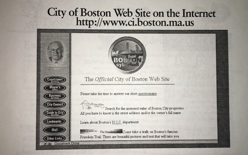 A look at the original City of Boston homepage from the 1996 newsletter.