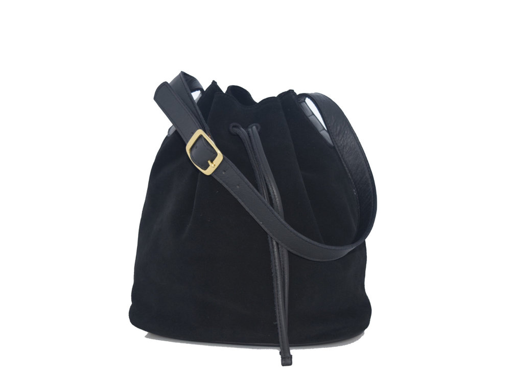 Black Joyce Bucket Bag in Suede