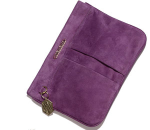 Purple Novella Clutch in Suede