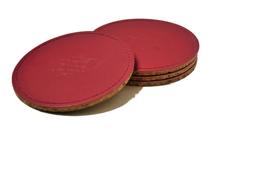Linell Ellis Leather Coasters- Pink