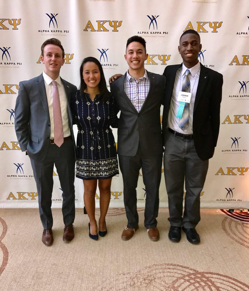 From left, brothers Jack Coyle, Amanda Flores, Anthony Manno, and Joshua Clarke pose after winning second in the PBLI Case Competition.