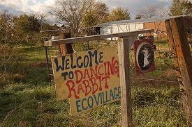 The welcome sign at Dancing Rabbit Ecovillage.
