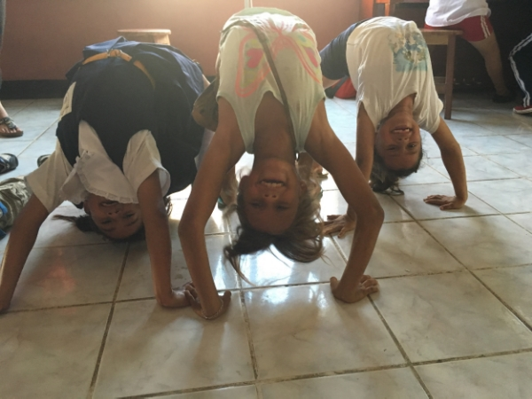 Aymi, Paula and Sarai showing off their back bends...tomorrow - Eagle and Warrior 2!