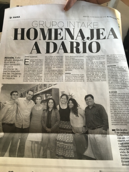 Featured in Nicaragua's main paper.
