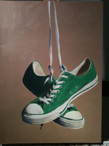 Green Converses - Oil on Panel.
