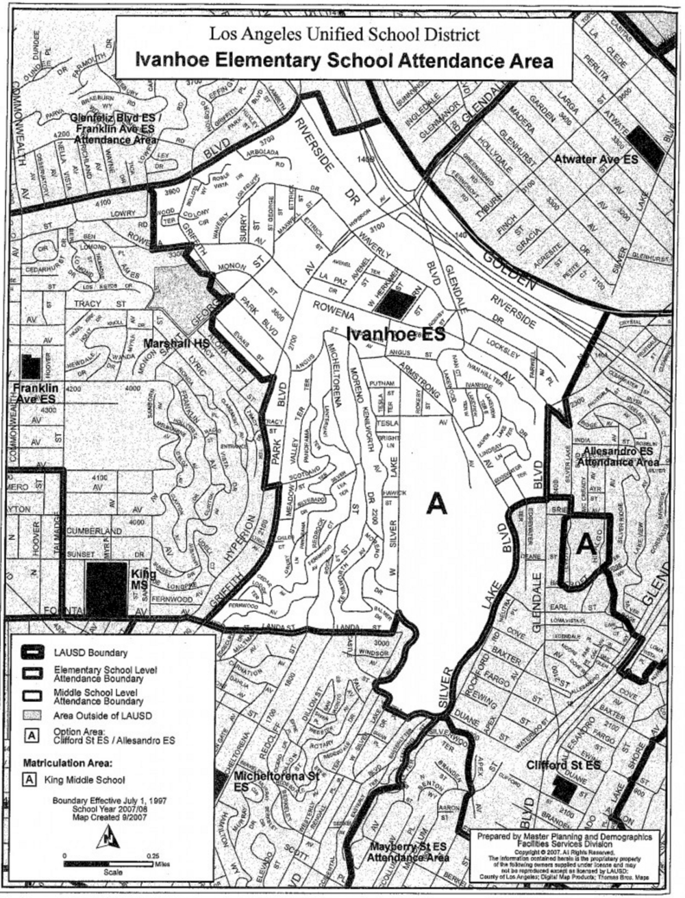 Ivanhoe School District Map  The Eastside Co - Los angeles unified map