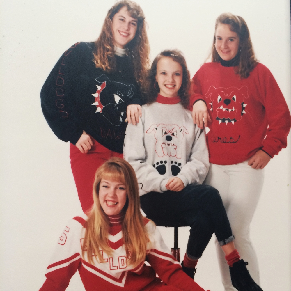 My friends and I were super spirited as freshman. That's me on the right, feeling adorable in my skinny girl pants.
