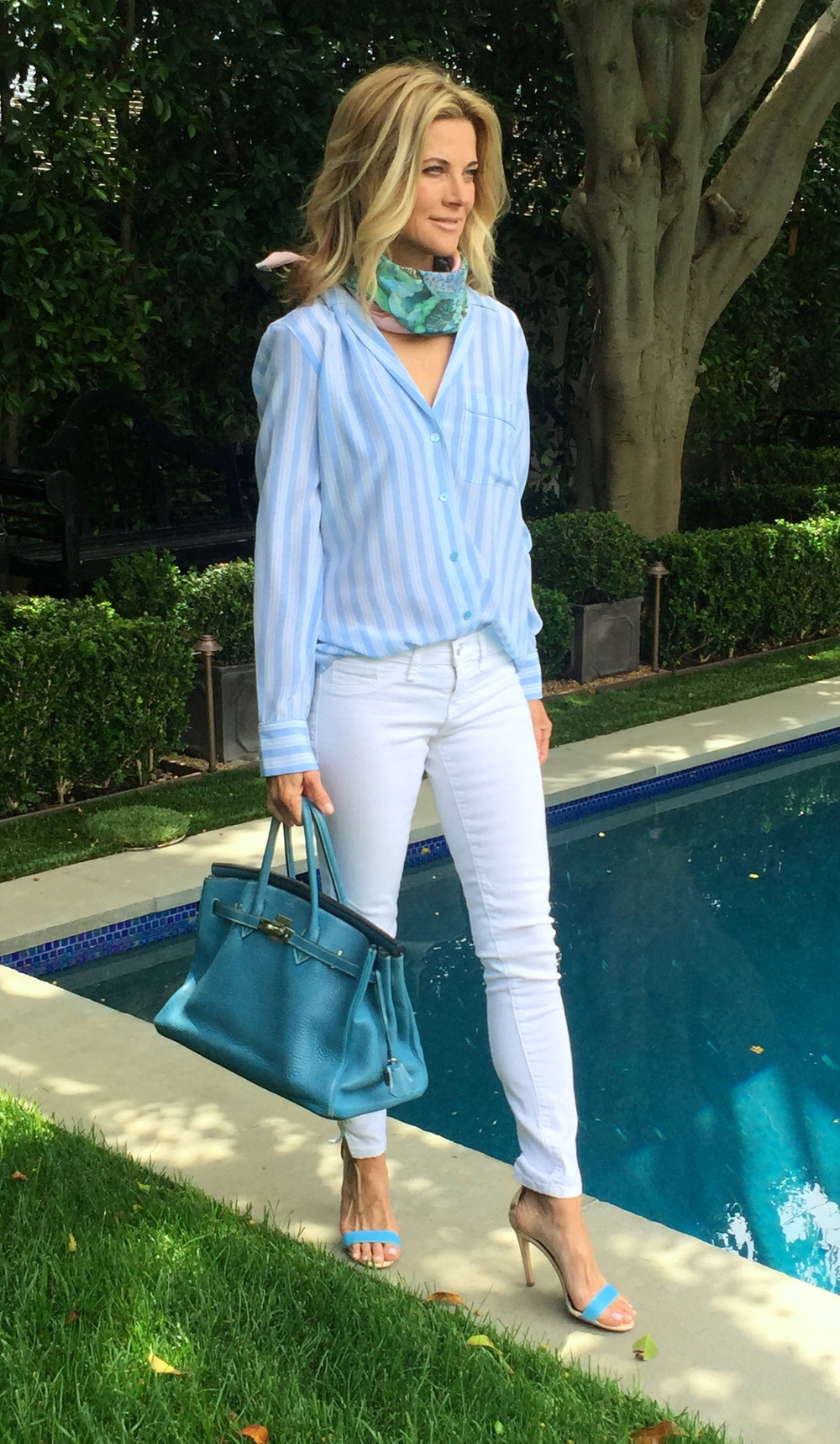 I am a big fan of EQUIPMENT   clothing  .  It works year round, it's sophisticated, sexy and oh so soft.  White Jeans,  Flying Monkeys , Tibi http://www.tibi.com/shop/shoes/pumps  Strappy sandals,  Hermes Birkin,   Hermes Scarf