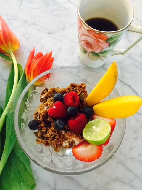 Organic granola with berries and  Fage  yogurt, papaya & a squeeze of lime with  Don Francisco's  Coffee in  Nippon  Hand Painted Rose Cup