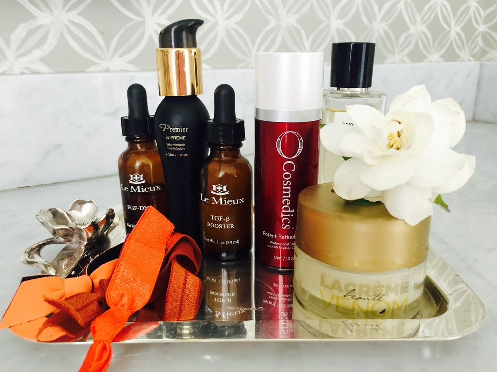 Lacreme is owned by Victoria Galbraith Wachtel. The GLOW , the Rose Lip Balm and the VENOM are her products. These are a must haves. Loreta & Victoria are beautiful women who care about women.   LACREME VENOM,  Le Mieux-EGF-DNA, Le  Mieux-TGF-B BOOSTER , These two serums are fast acting along with  Cosmedics,Retinol Serum.   Emi-Jay Hair Ties ,  Chanel  Gardenia Perfume .  I have experienced adult acne the last few years, but with this retinol serum it has worked wonders. FYI I use it every night, my face rarely breaks out. Honestly!.